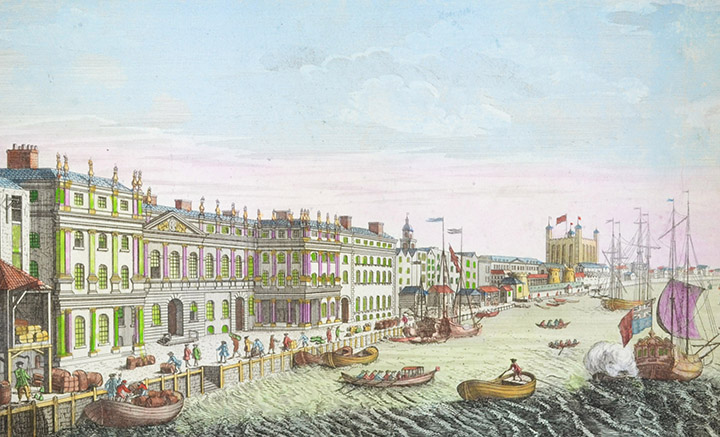 Optical view of the Customs on the River Thames in London (England)