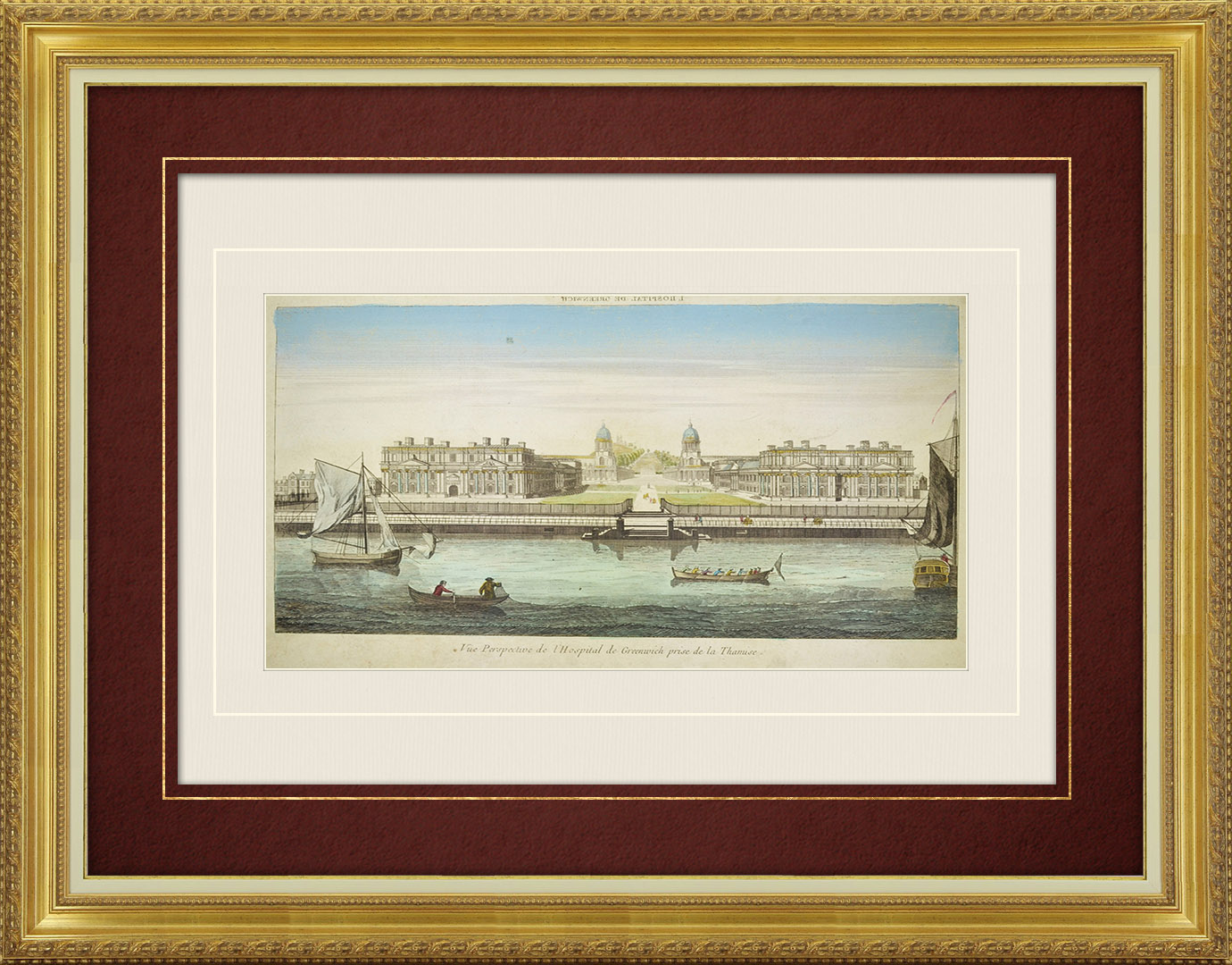 18th Century optical view in original watercolors of Greenwich Hospital and the River Thames in London (England)