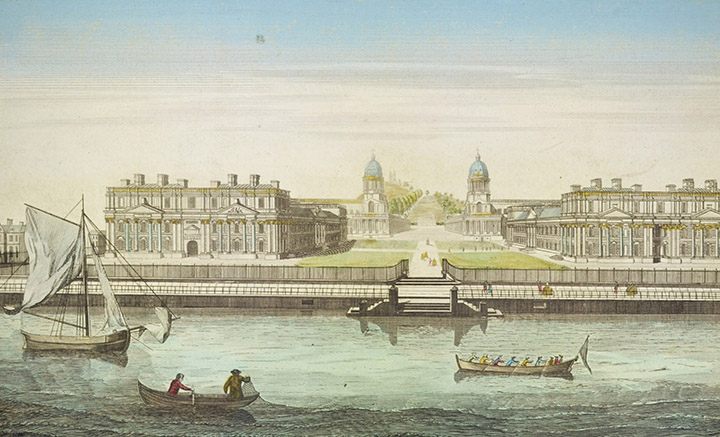 Optical view of Greenwich Hospital and the River Thames in London (England)