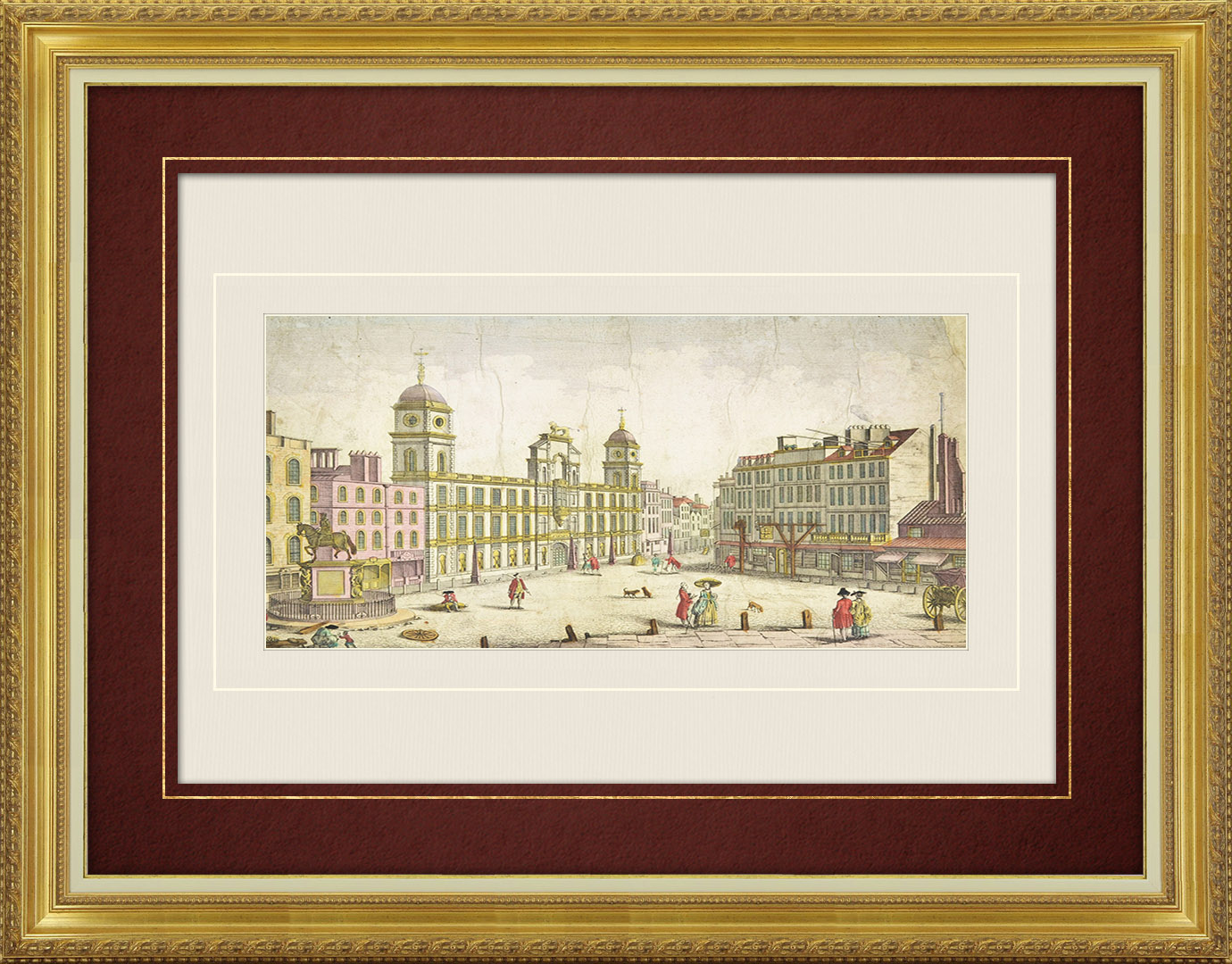 18th Century optical view in original watercolors of Northumberland House at Charing Cross in Charing Cross - London (England )