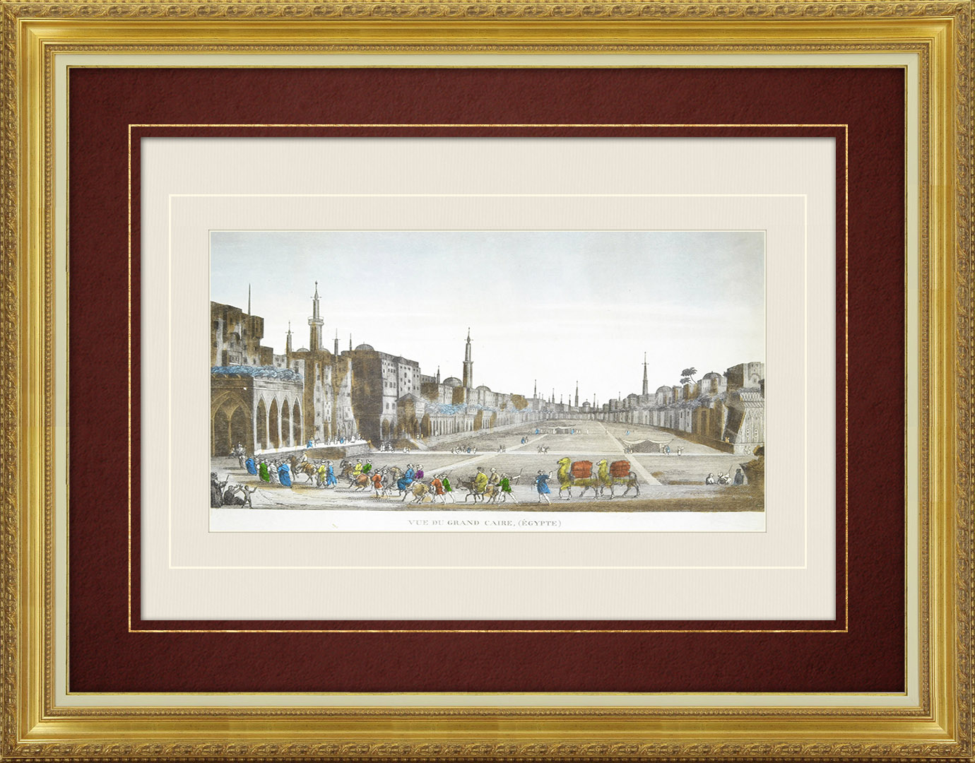 19th Century optical view in original watercolors of Cairo (Egypt)