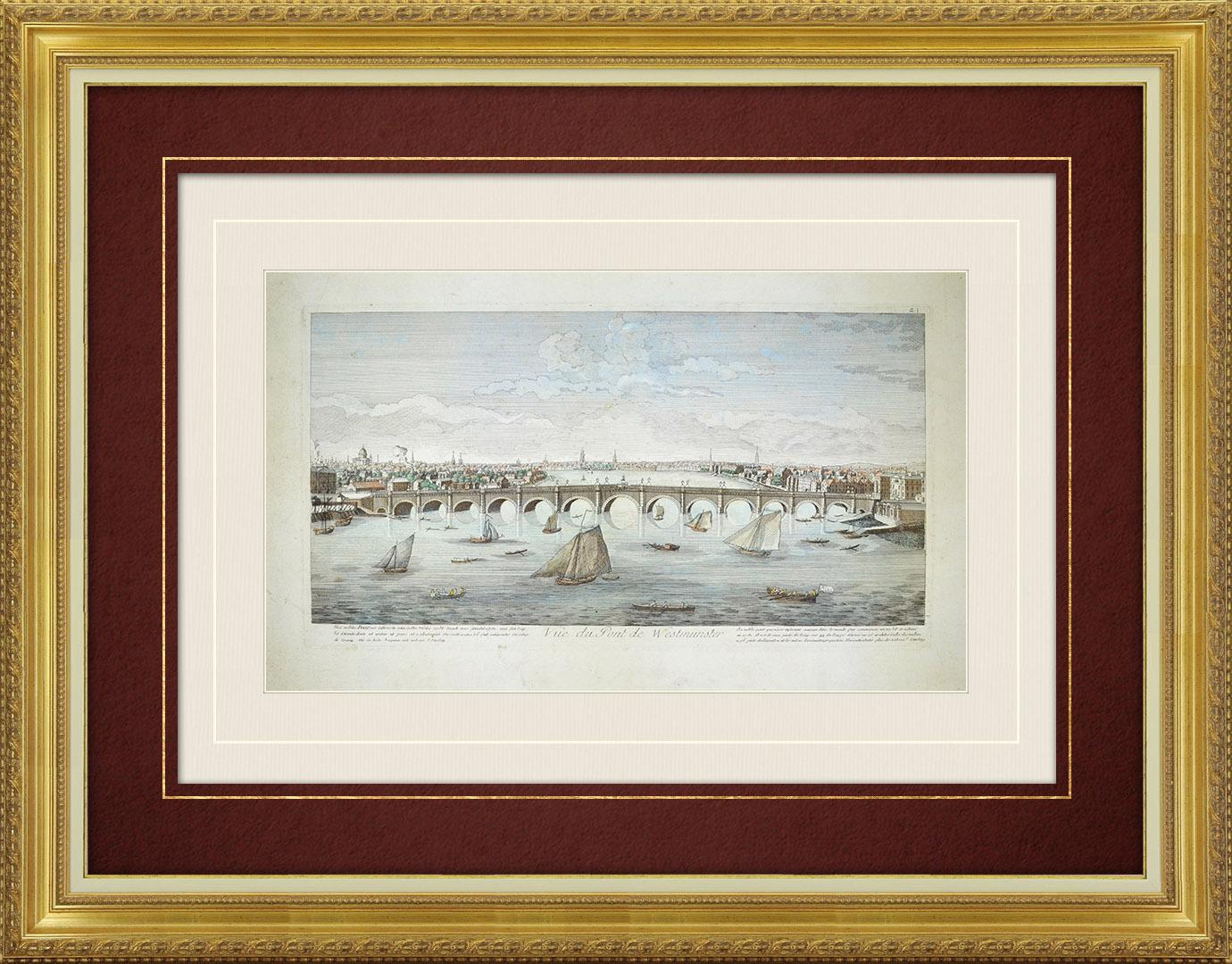 18th Century optical view in original watercolors of Westminster Bridge in London (England)