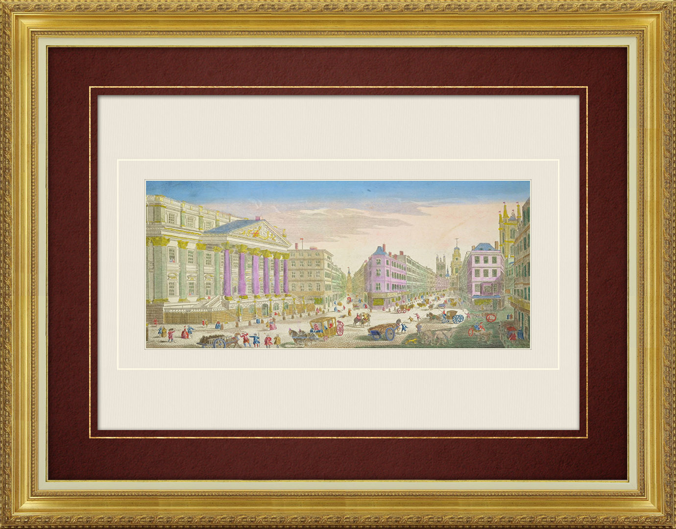 18th Century optical view in original watercolors of Mansion House in London (England )