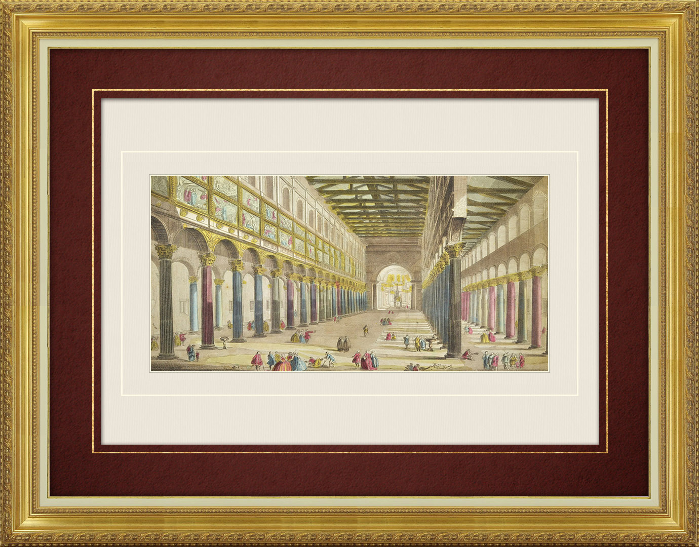Vue d'optique du 18e siècle en coloris d'époque de l'Intérieur de la Basilique Saint-Paul à Rome (Italie)