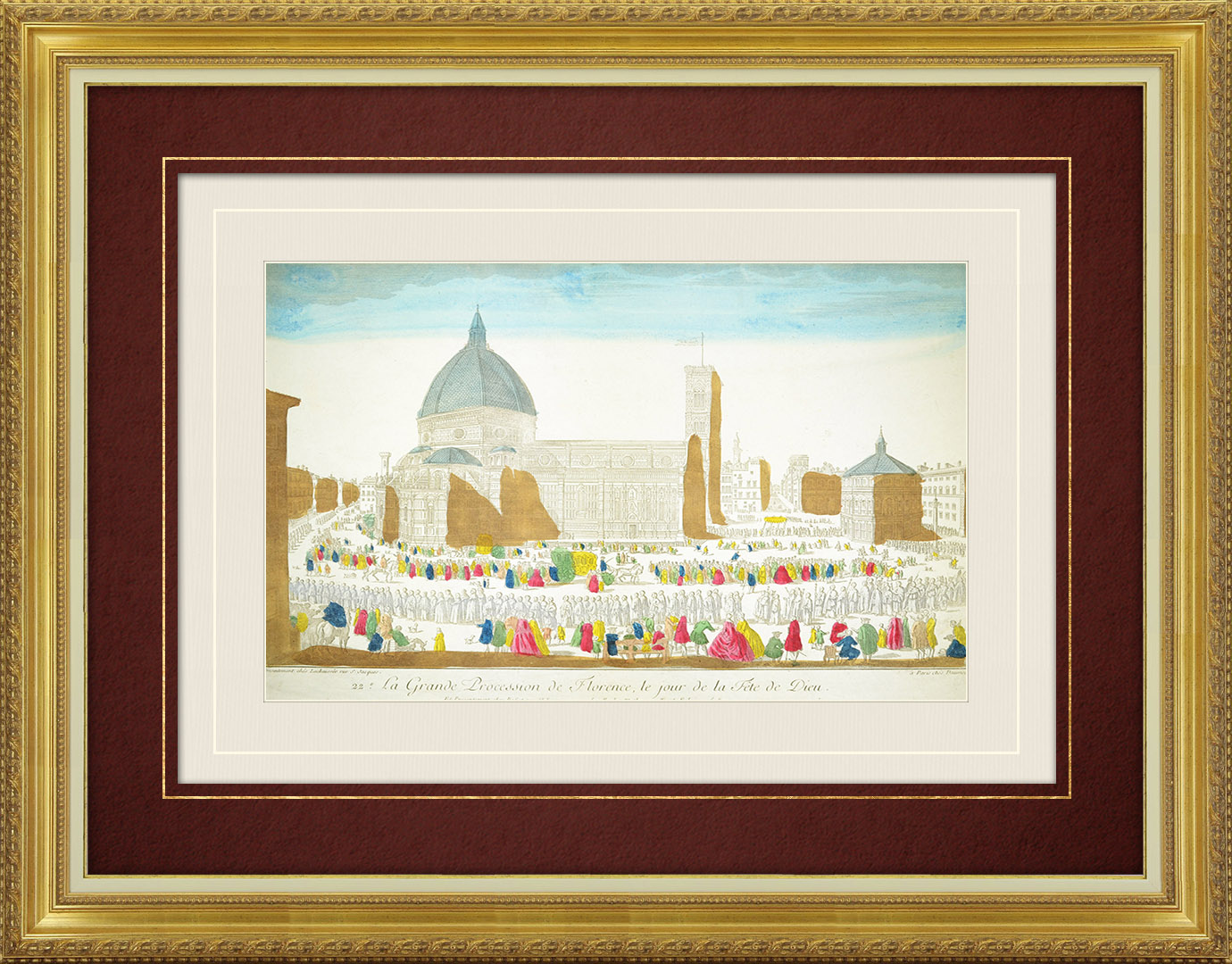 18th Century optical view in original watercolors of the Corpus Christi Procession in Florence (Italy)