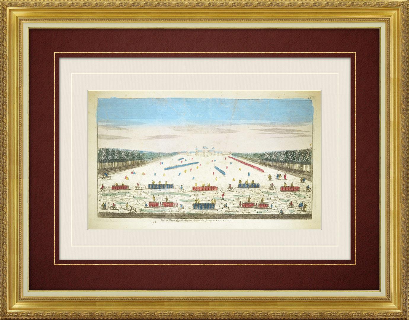 18th Century optical view in original watercolors of the Military School - Champ-de-Mars - Paris (France)