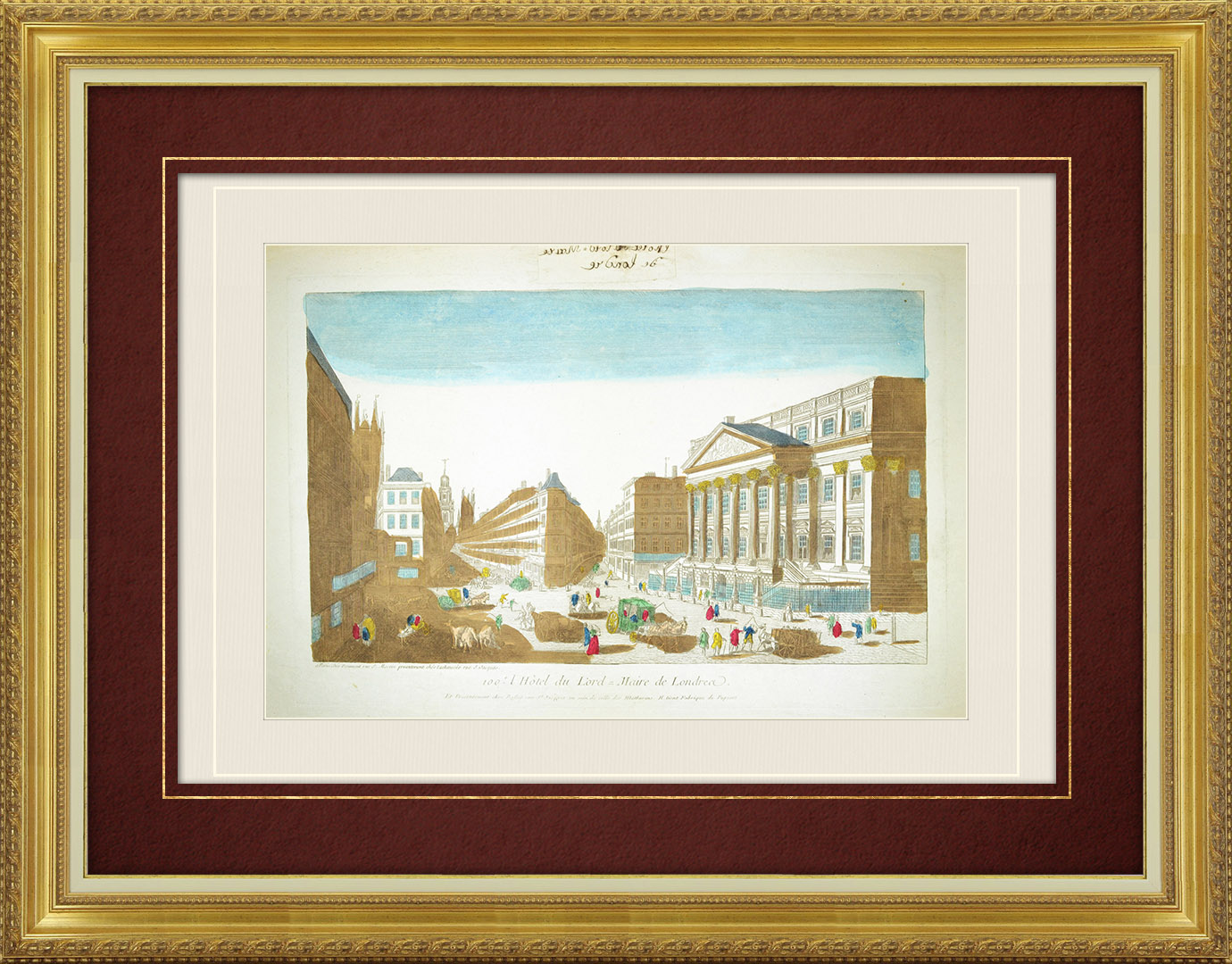 18th Century optical view in original watercolors of Mansion House - London (England )