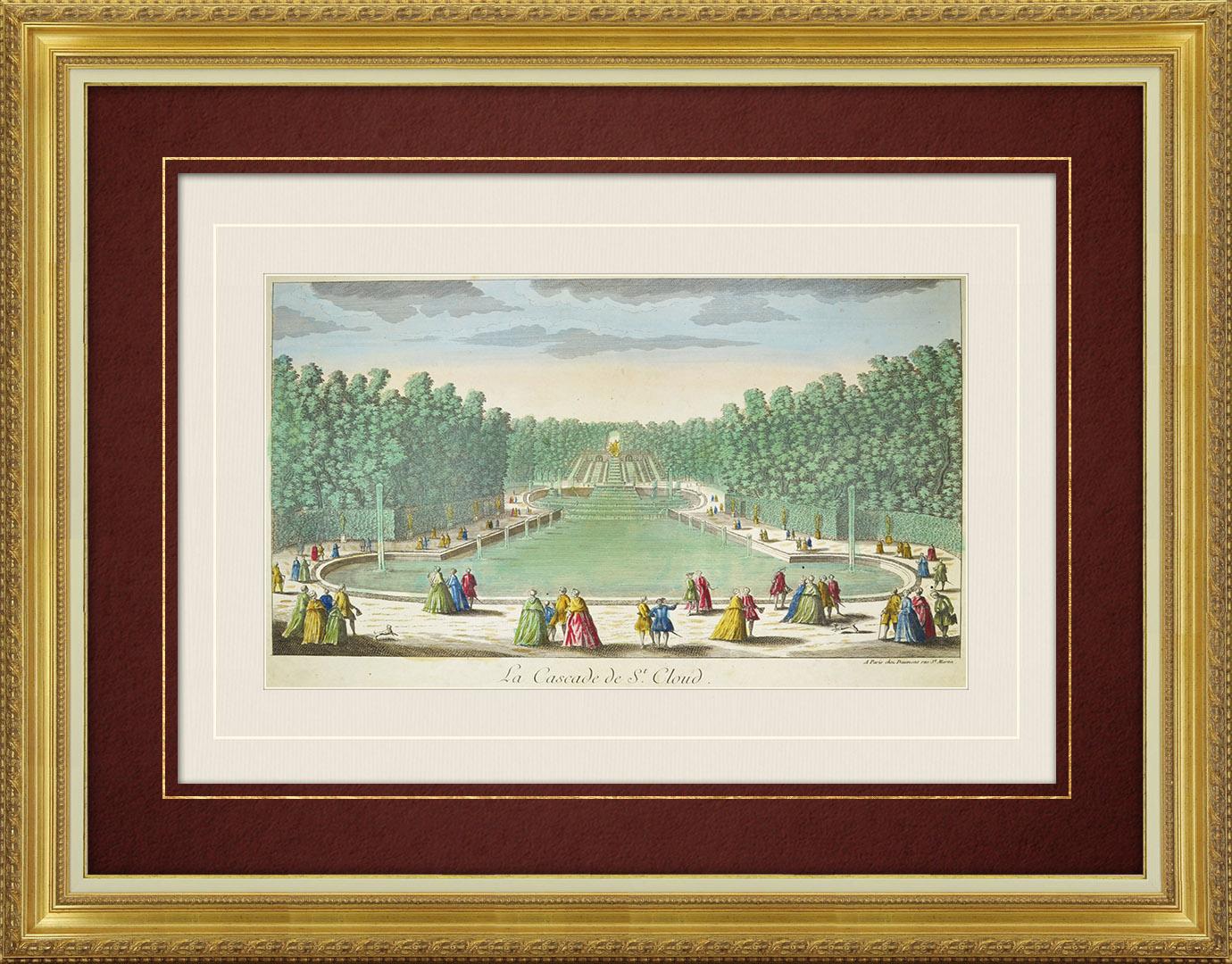 Vue d'optique du 18e siècle en coloris d'époque du Parc de Saint Cloud et de la Cascade (France)