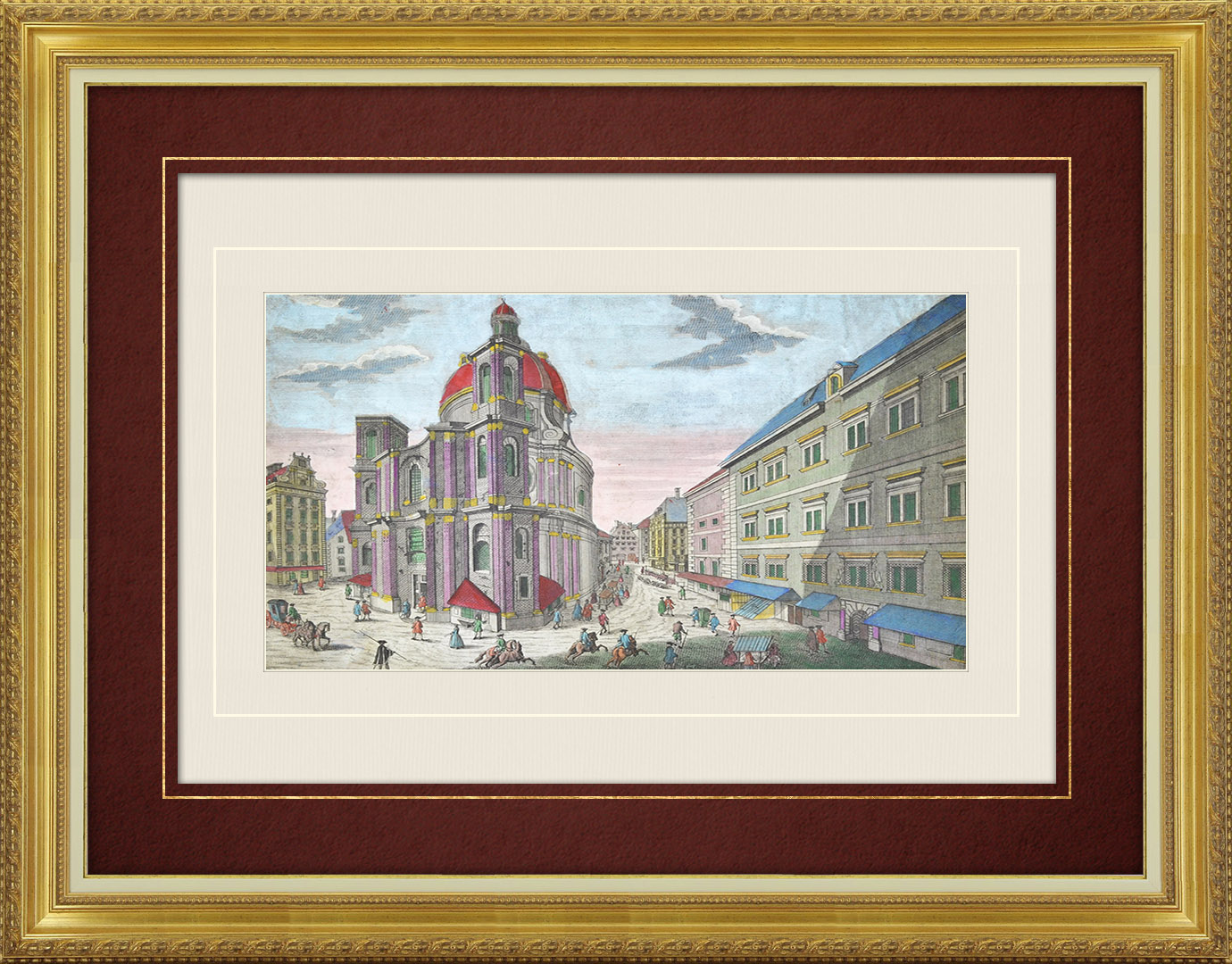 18th Century optical view in original watercolors of Strasbourg - St Thomas' Church (France)