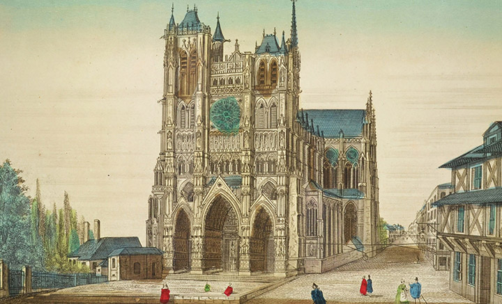 Optical view of the Cathedral of Amiens - Portal (France)