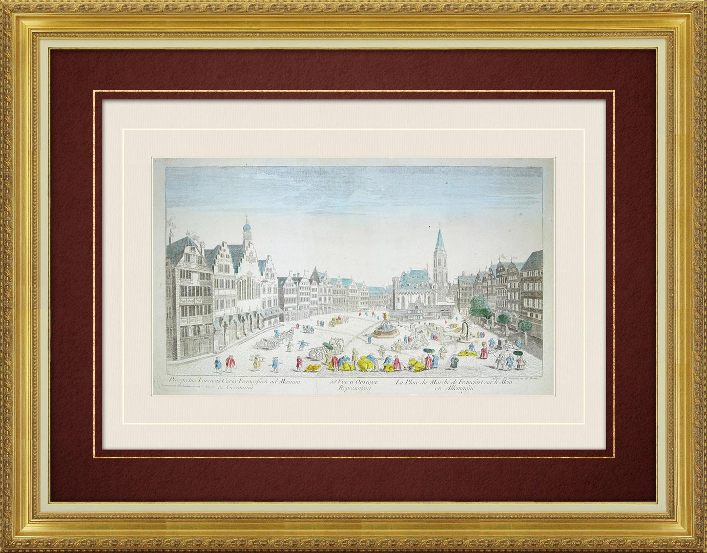Veduta ottica del 18 secolo a colori d'epoca della Piazza del Mercato a Francoforte sul Meno (Germania)