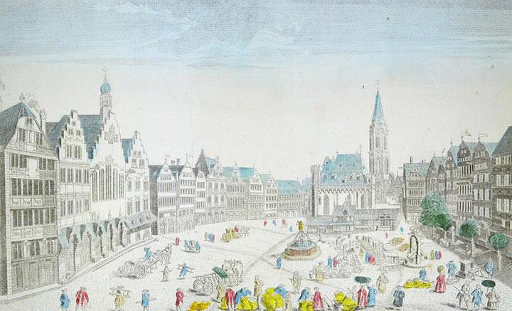 Vue d'optique de la Place du marché de Francfort sur le Main (Allemagne)