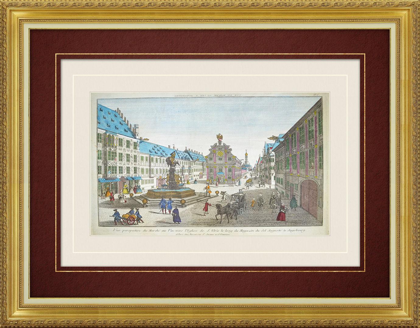 Vue d'optique du 18e siècle en coloris d'époque du marché au vin à Augsbourg (Allemagne)