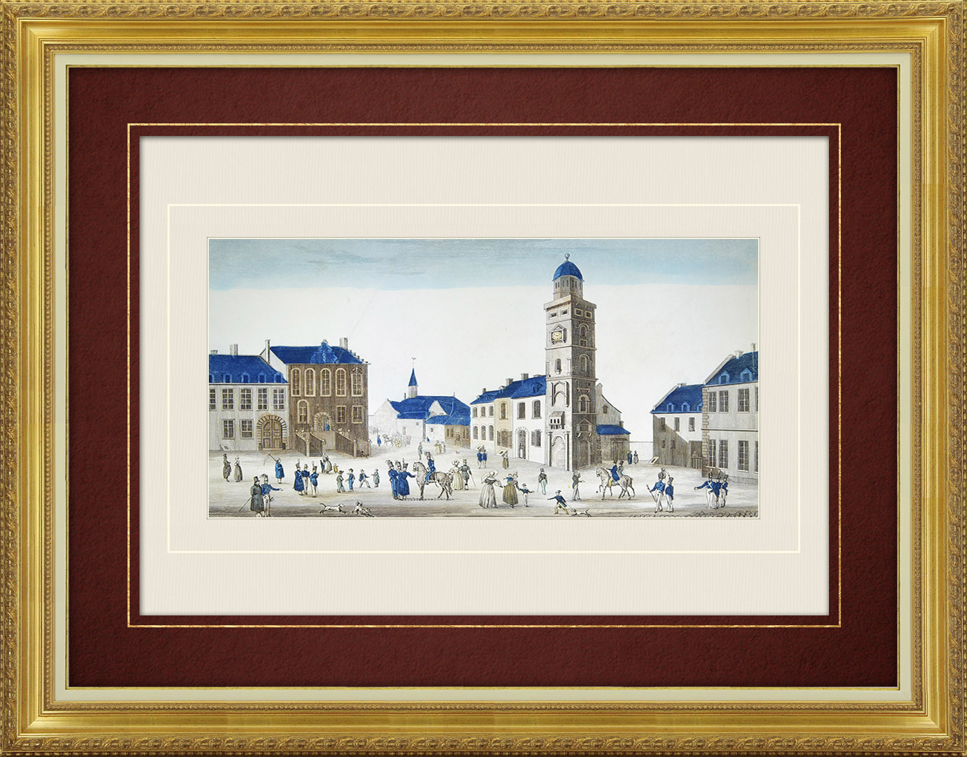 19th Century optical view in original watercolors of Place d'Armes in Gravelines (France)