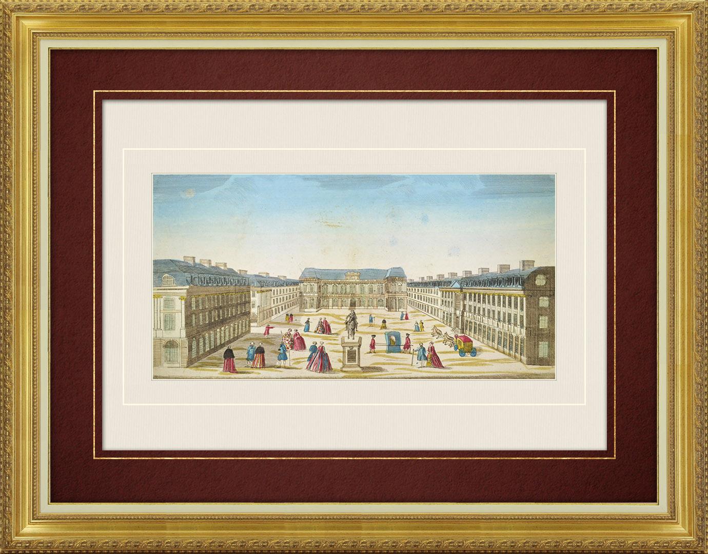 Vue d'optique du 18e siècle en coloris d'époque du Palais du Parlement de Bretagne - Rennes (France)