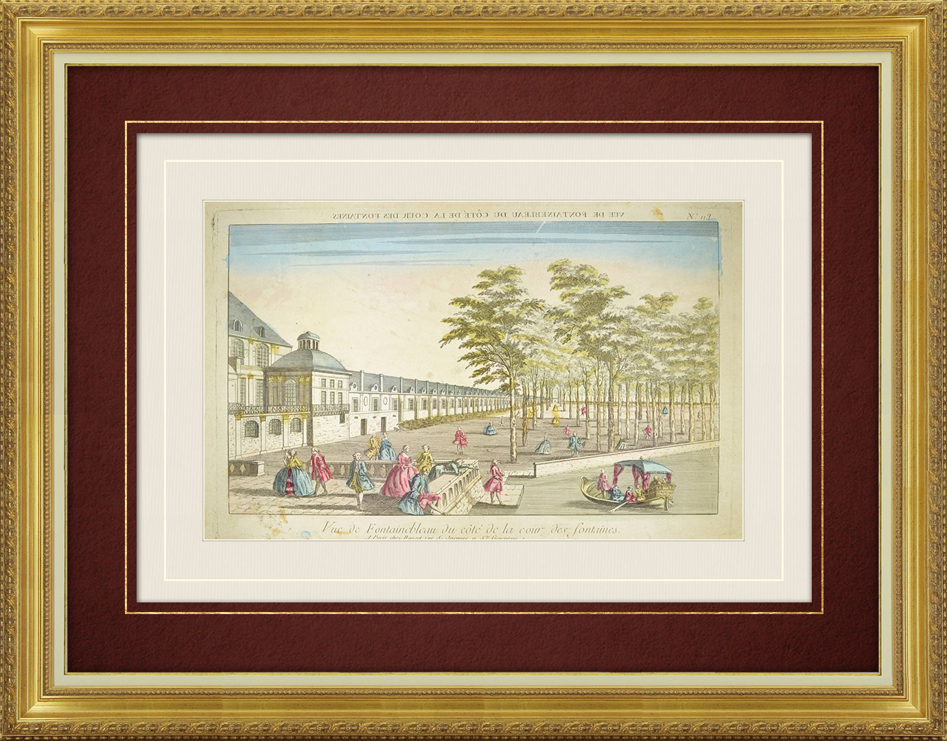 18th Century optical view in original watercolors of Fontainebleau - Cour de la Fontaine (France)