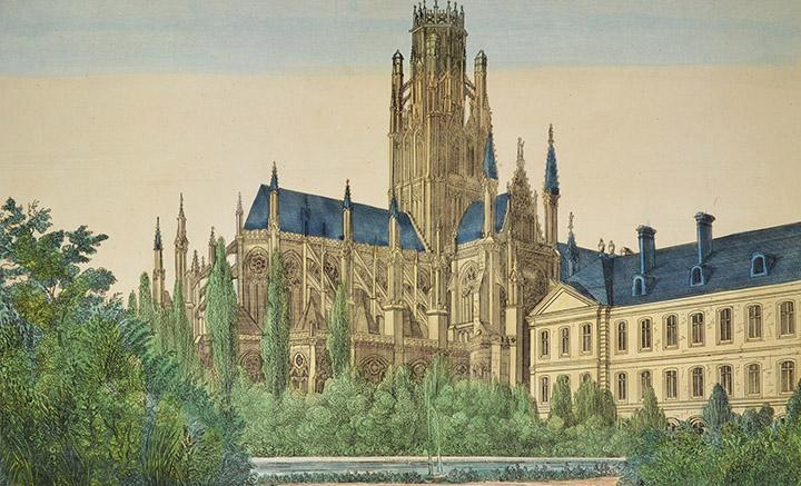 Optical view of Church Saint Ouen in Rouen (France)