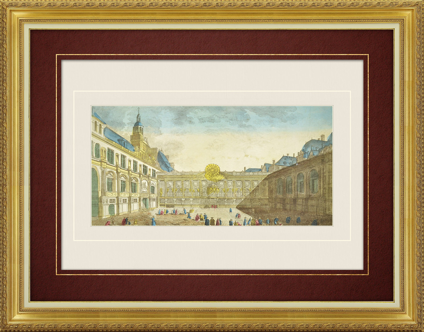Vue d'optique du 19e siècle en coloris d'époque de la cour de l'Hôtel de Ville de Paris en 1789 (France)