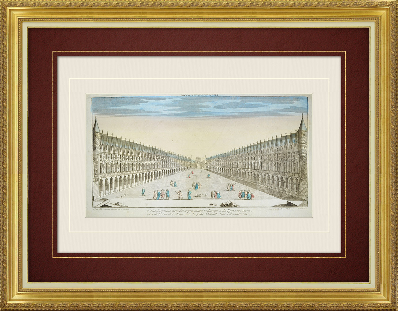 18th Century optical view in original watercolors of the decoration of Pont Notre-Dame - Paris (France)