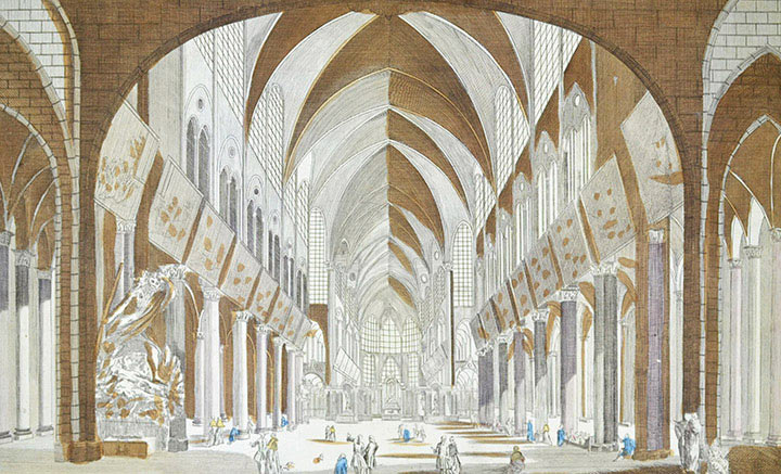 Vue d'optique de la Cathédrale Notre Dame de Paris (France)