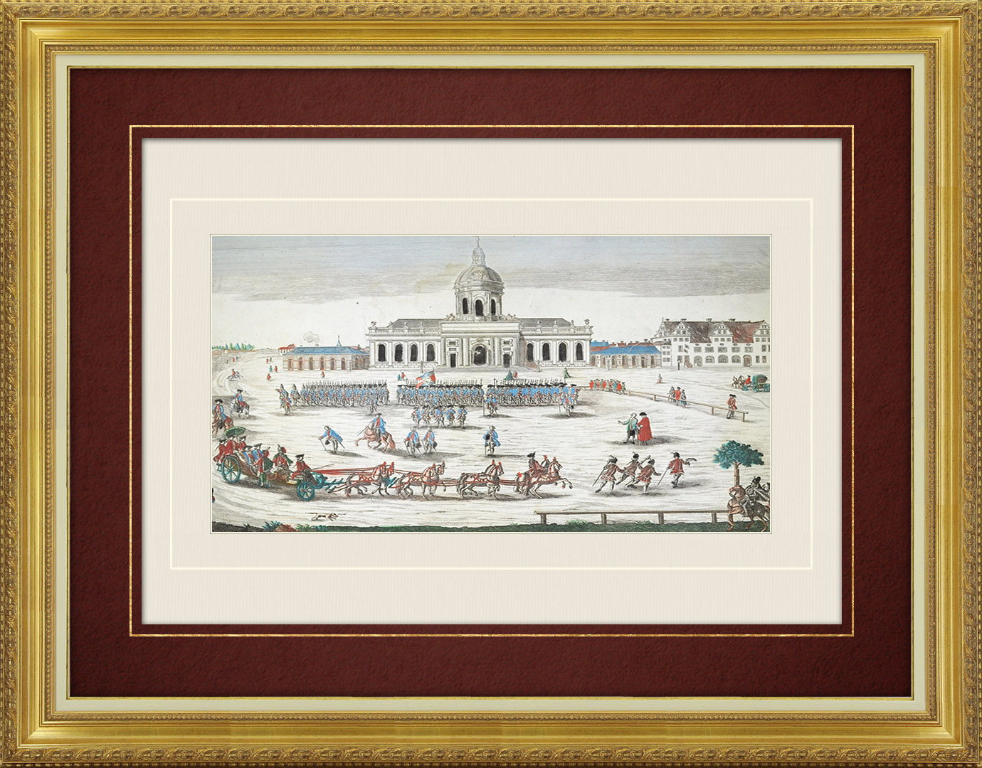 18th Century optical view in original watercolors of of the Cathedral in Berlin - Militar Parade (Germany)