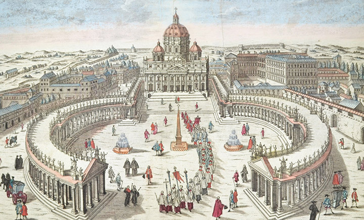 Optical view of the St. Peter's Basilica and Apostolic Palace (Vatican City)
