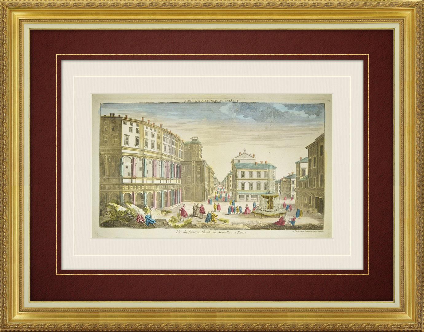 Vue d'optique du 18e siècle en coloris d'époque du Théâtre de Marcellus - Rome (Italie)