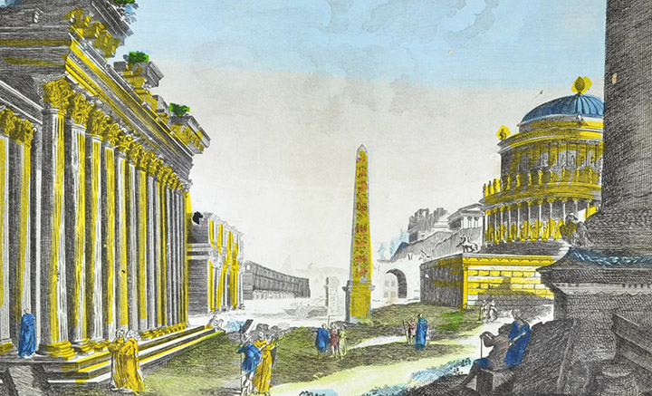 Vista óptica de la antigua Roma