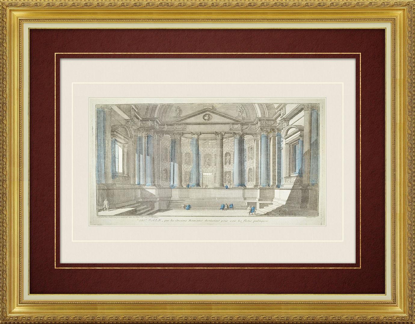 Vue d'optique du 18e siècle en coloris d'époque d'une salle à colonnes et statues de la Rome antique