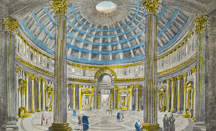 Optical view of the interior of the Pantheon - Rotunda - Rome (Italy)