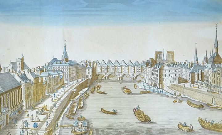 Optical view of Pont Saint-Michel - Seine - Paris (France)
