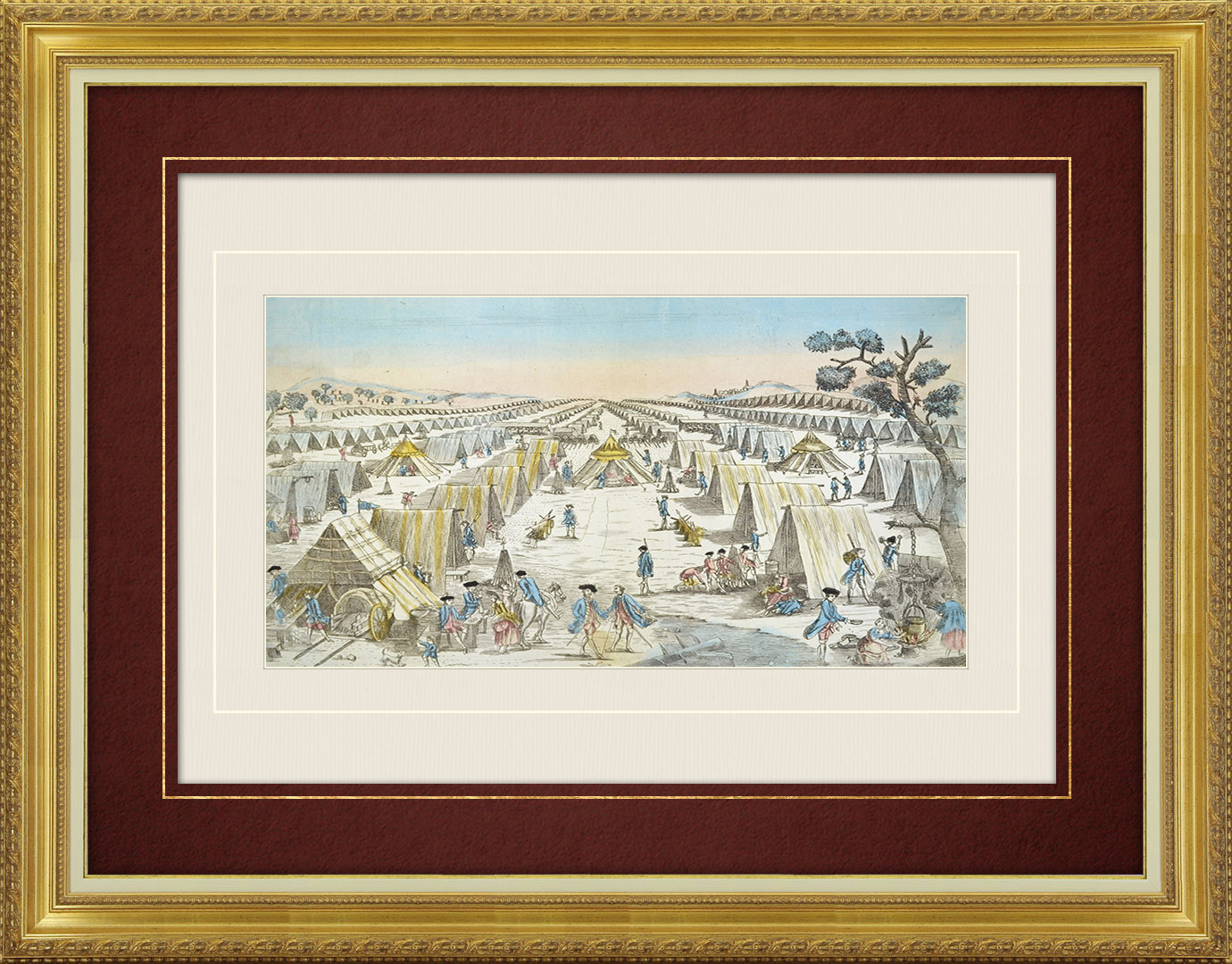 18th Century optical view in original watercolors of the Prussian army camp in Pomerania (Germany)