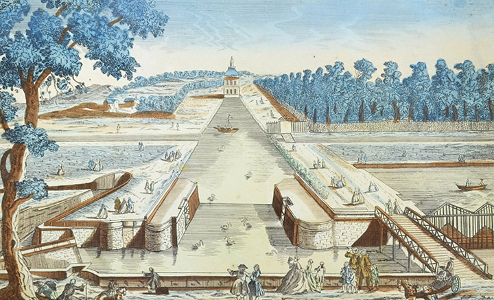 Optical view of the Lock of the Pavillon Manse at Chantilly (France)