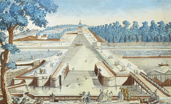 Vista óptica de l'Esclusa del Pavillon Manse en Chantilly (Francia)