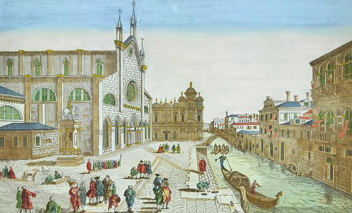 Vista óptica de la Basílica de San Juan y San Pablo en Venecia (Italia)
