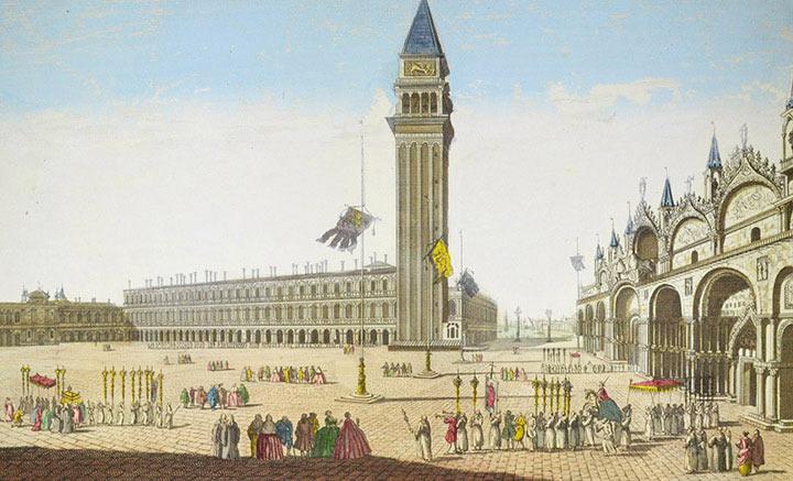 Vue d'optique de la Place Saint-Marc à Venise (Italie)