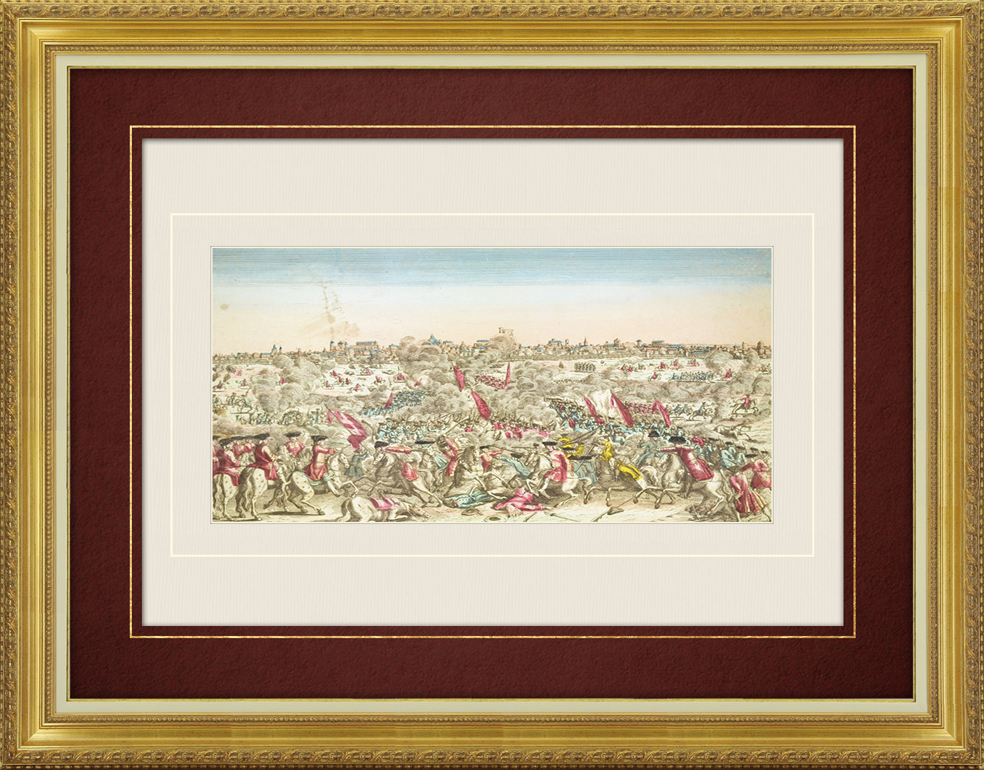 18th Century optical view in original watercolors of the Spanish–Portuguese battle in South America