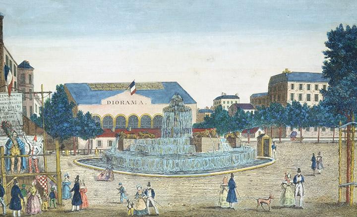 Optical view of the Fontaine du château d'eau on the Place de la République in Paris (France)