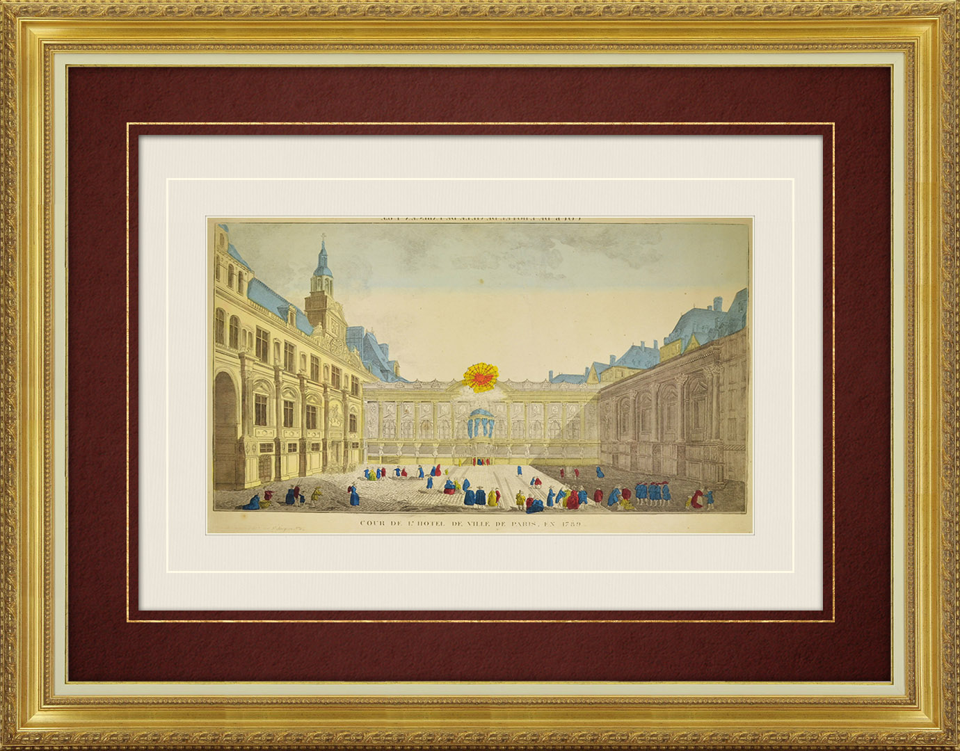 19th Century optical view in original watercolors of the courtyard of the City Hall in Paris in 1789 (France)