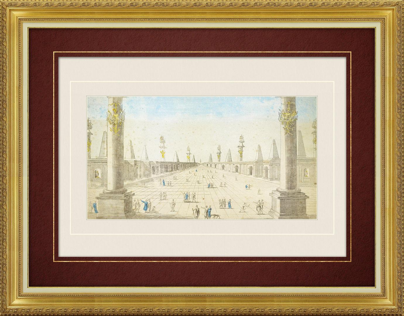 18th Century optical view in original watercolors of the Mosque of the Prophet in Medina (Saudi Arabia)