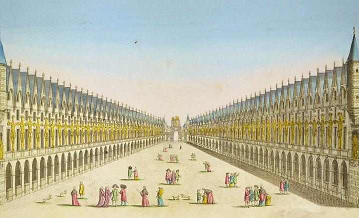 Vue d'optique de la décoration du Pont Notre-Dame à Paris (France)