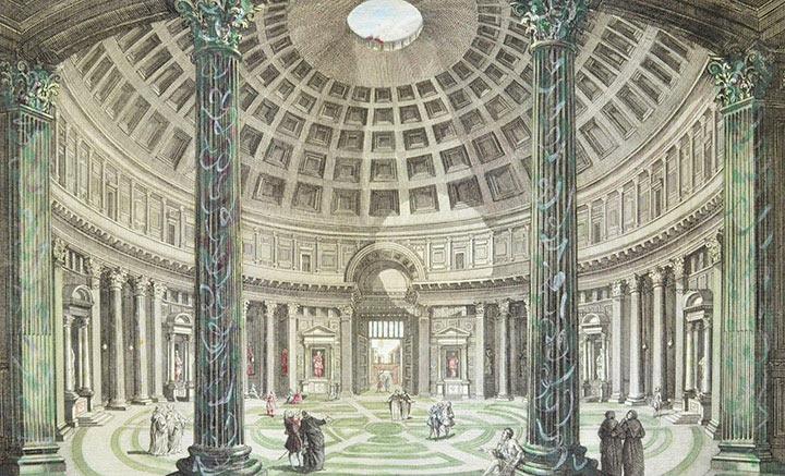 Vue d'optique de la Rotonde du Panthéon de Rome (Italie)