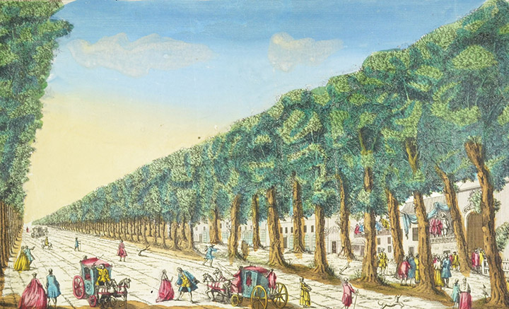 Optical view of Grands Boulevards in Paris (France)