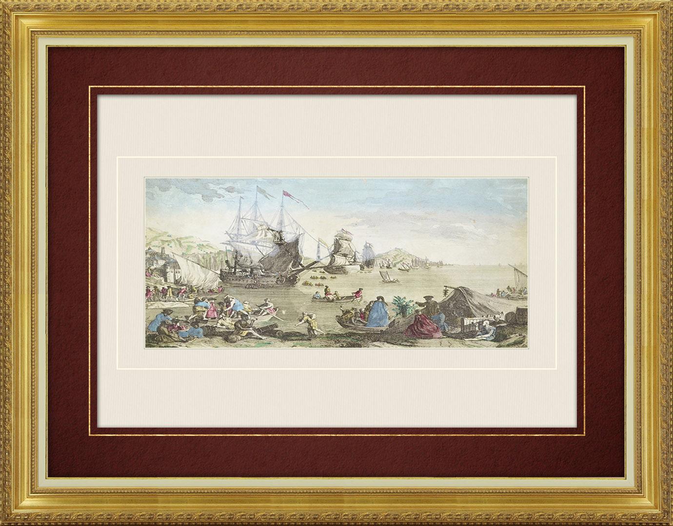 Vue d'optique du 18e siècle en coloris d'époque de la flotte partant du port de Cadix vers Vera Cruz (Espagne)