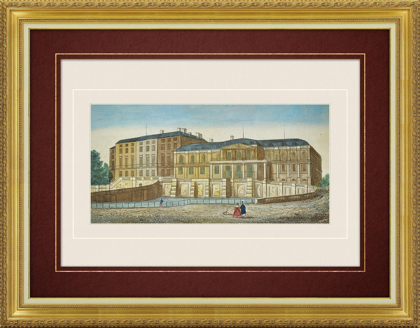 19th Century optical view in original watercolors of Saint-Cloud Castle (France)