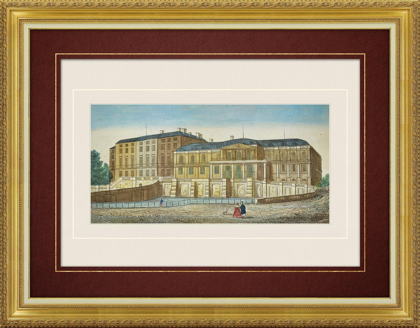 Veduta ottica del 19 secolo a colori d'epoca delle Castello di Saint-Cloud (Francia)