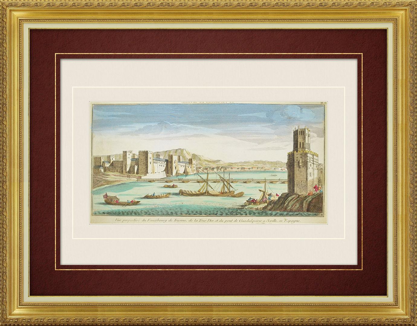 18th Century optical view in original watercolors of the Torre del Oro and the Guadalquivir Bridge in Seville (Spain)