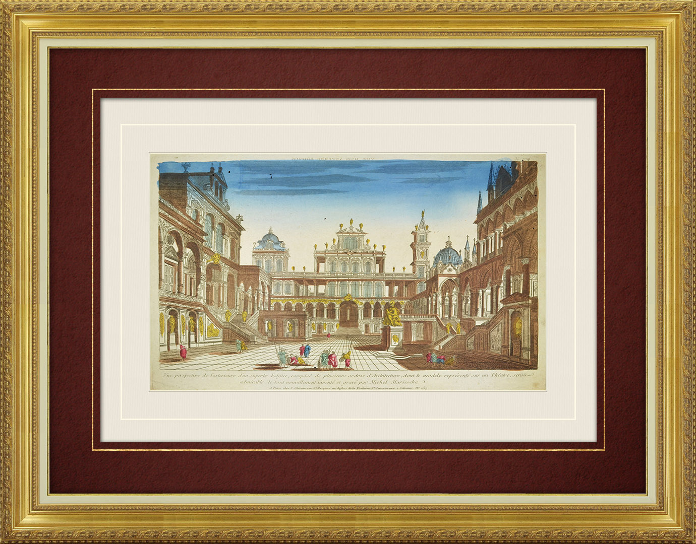 18th Century optical view in original watercolors of an ancient Theater - Michele Marieschi (Italy)