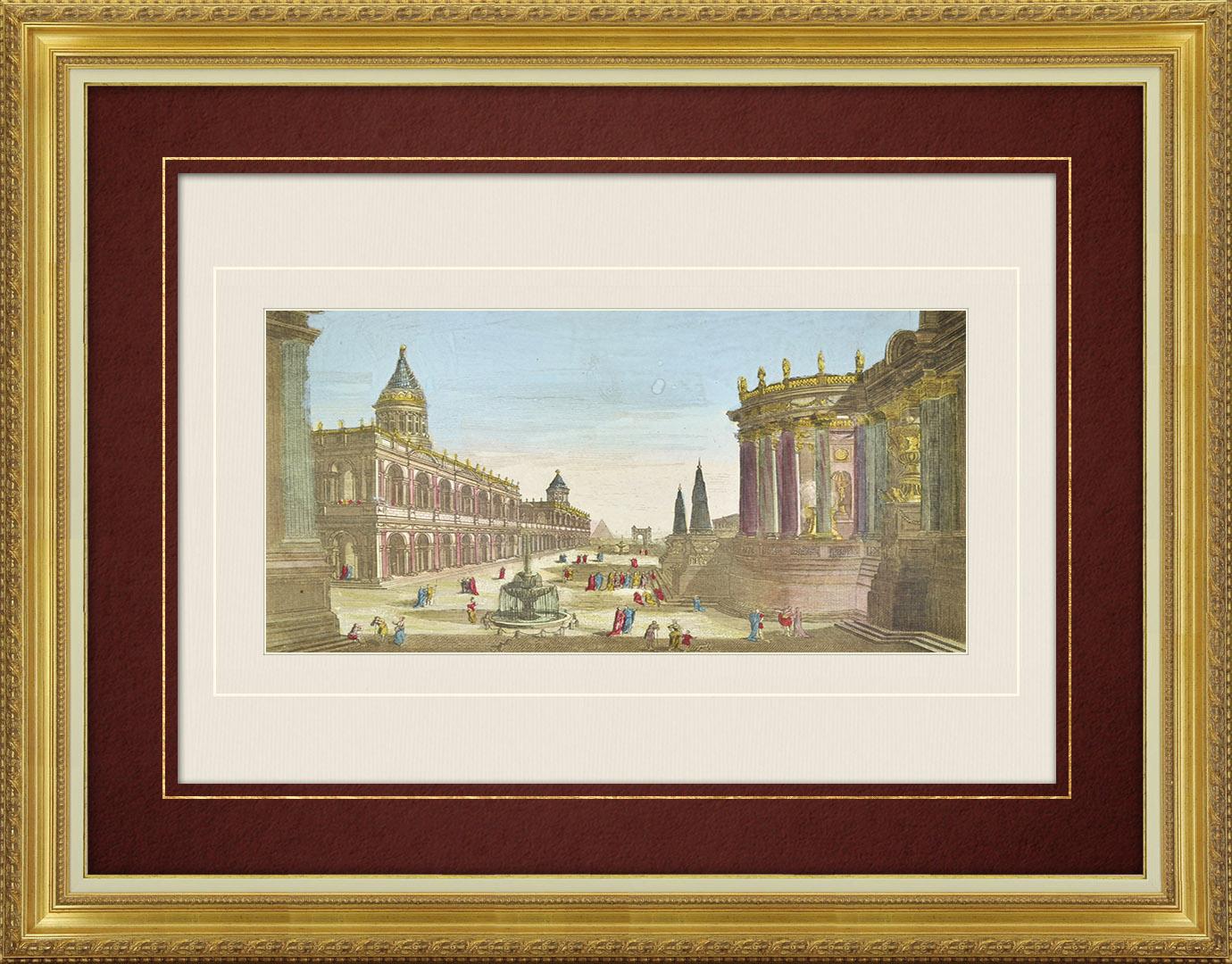 Vue d'optique du 18e siècle en coloris d'époque de la Rome antique (Italie)