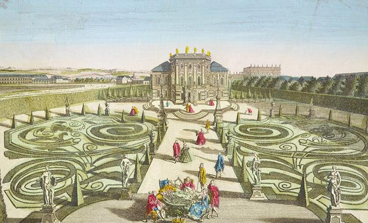Vista óptica del jardín del Gran Escudero de la Reina de Hungría en Viena (Austria)